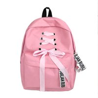 estudantes das meninas da lona mochila saco de escola venda por atacado-Estilo Preppy Sacos De Escola Para Meninas Adolescentes Carta Fitas Mochila de Lona Estudante de Moda Mochila Mulheres Saco de Viagem Ocasional