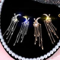 uzun küpeler avrupa toptan satış-Moda Kore 925 Gümüş iğne yıldız ay kristal uzun küpe Avrupa ve Amerika Birleşik Devletleri İnternet Ünlü vahşi yaratıcı takı