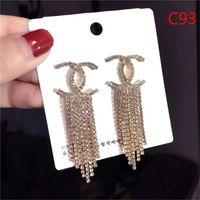 ingrosso orecchini a forma di imitazione di moda-Marchio di moda classico cristallo lettera orecchini gioielli di moda per le donne dichiarazione imitazione perla orecchini gioielli