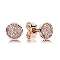moda 925 küpeler toptan satış-18 K Rose Gold Saplama Küpe Orijinal kutusu Pandora 925 Gümüş Kristal CZ Açacağı Küpe Kadınlar için Set Moda aksesuarları toptan