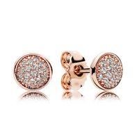 ingrosso il cristallo d'argento 925 pavimenta gli orecchini-Orecchino con perno in oro rosa 18 carati Scatola originale per orecchini in argento 925 con pavè di cristallo CZ Pandora Set per accessori moda donna all'ingrosso