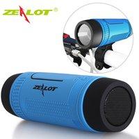 taschenlampenhalter für fahrräder großhandel-Zealot s1 spalte bluetooth lautsprecher fm radio tragbare wasserdichte outdoor fahrrad drahtlose lautsprecher taschenlampe + power bank + fahrradhalterung