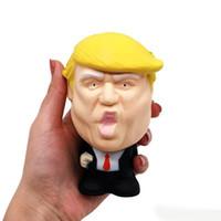 yenilik stres sıkmak toptan satış-Donald Trump Stres Sıkıştırın Topu Jumbo Squishy Oyuncak Serin Yenilik Basınç ReliefKids Bebek Dekor Sıkmak Eğlenceli Şaka Sahne Hediye çocuk oyuncakları