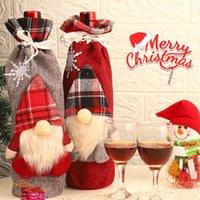 sacos de garrafa de vinho venda por atacado-Decoração de Natal Papai Noel Wine Bottle Capa presente de Santa Sack Garrafa Segure Bag Xmas Tabela Decoração Fontes do partido DBC VT0983