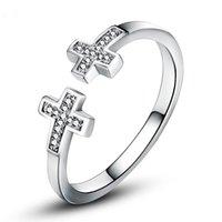 женщины с двойным крестом оптовых-VOJEFEN элегантный 925 Стелинг серебро двойной крест кольцо христианский простой крест кольцо стерлингового серебра открыть для женщин девочек