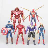 Wholesale spiderman doll toy resale online - 6pcs set Avengers Captain Marvel Action Figures Doll toys New kids Cartoon Superhero Iron Man Thanos spiderman Figure Toy C2