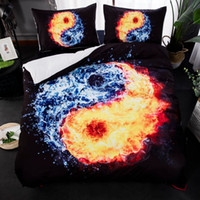 Wholesale beddings for sale - Group buy 3D Yin Yang Tai Chi Bedding Set HD Fire Water Beddings Duvet Cover Set Bedlinen Twin Full Queen King Size