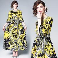 maxi uzun elbiseler sarı toptan satış-Uzun Maxi Elbise Yuvarlak Boyun Avrupa Saray Baskı Sarı Moda Zarif Parti Balo Akşam Yemeği Elbise 3137