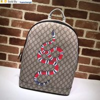 Wholesale real soft toys resale online - yuancheng4 Top Quality Celebrity design Letter embossed Snake canvas leather Backpack Real Leather Man Woman Fashion Travel bag