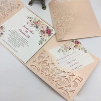 Wholesale buckle invitation cards resale online - New Style Unique Laser Cut Wedding Invitations Cards High Quality personalized Hollow Flower Bridal Invitation Card Cheap