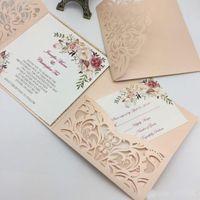 cartões de casamento venda por atacado-Novo Estilo Único A Laser Cut Convites De Casamento Cartões de Alta Qualidade personalizado Flor Oco Cartão de Convite De Noiva Barato
