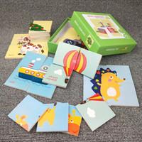 velho avião brinquedo venda por atacado-Crianças 4 peças simples plano de quebra-cabeça de madeira bebê educação infantil desenvolvimento de puzzle brinquedos infantis 1-3 anos de idade