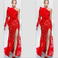 vestidos de noche de un solo hombro al por mayor-Elegante Elie Saab 2020 Un hombro, manga única, encaje, lazo grande, apliques, frente, dividir, vestido de noche rojo, personalizar vestido de baile Celebrity Dresses