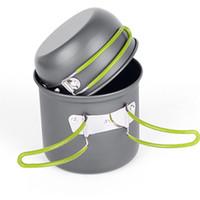 panelas ao ar livre venda por atacado-Não -Stick Pots Pans Bowls portátil ao ar livre Caminhadas Camping Cooking conjunto de panelas Acessórios Outdoor Prático