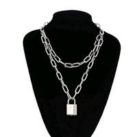ingrosso pendenti a doppia catena-Double Layer catena di blocco Collana punk annata '90 Catena lucchetto della collana di fascino di Hip Hop donne Gothic Jewelry Statement