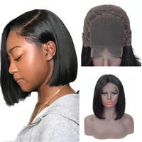 bakire saç kökü toptan satış-4x4 Düz bob dantel Ön İnsan Saç Peruk Brezilyalı kısa Düz Bob peruk% 100% İnsan Bakire saç Dantel Frontal peruk