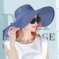 Wholesale large elegant straw hats resale online - Newly Fashion Women Summer Hats Foldable Wide Large Brim Beach Sun Straw Cap Elegant Hats Caps FMS19