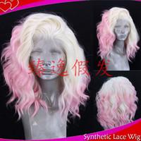 ingrosso parrucche rosse bionde di pizzo-MHAZEL Fibra ad alta temperatura 613 # Biondo / Rosa parrucche anteriori in pizzo sintetico a onde larghe onda Rame rosso parrucche per capelli umani per le donne nere