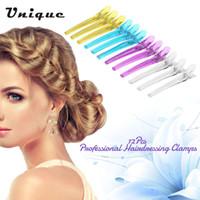 herramienta de corte de clips al por mayor-12 Unids Colorido Hair Grip Clips Peluquería Corte en Seco Abrazaderas Profesional de Plástico Salon Styling Hair Grip Clips Herramienta
