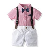 Wholesale jacket double breasted kids for sale - Group buy Kids Boys Casual Suits Summer Gentleman Tatting Cotton Short Stripes Shirt Bow Tie Belt Pants Set Children Kids Boys Clothing Sets