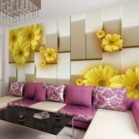 Wholesale yellow flower wallpaper for sale - Group buy Modern Simple D Stereo Fashion Yellow Flower Photo Wallpaper Living Room Dining Room Backdrop Wall Mural Papel De Parede Floral arkadi