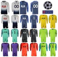 camisa de futebol quente venda por atacado-Hot Spur 2018 2019 Manga Longa 1 Hugo Lloris Goleiro de Futebol Jersey Set GK Goalie 13 Vorm 22 Gazzaniga Camisa De Futebol Kits Uniforme