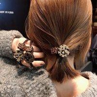 bloque de goma negro al por mayor-Bandas de bloque lindo leopardo de cristal de goma del pelo de la muchacha pulsera para mujer de la cuerda Extensiones elásticos anillos de color rosa Negro Color Azul Cabello
