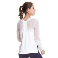 camisa blanca de yoga de manga larga al por mayor-GXQIL Sexy Malla Camisas de Yoga Camisetas de Manga Larga Deportivas Top Blanco Negro Marca Deportiva Camiseta 2018 Nueva Mujer Ropa de Entrenamiento de Gimnasio S L # 327458