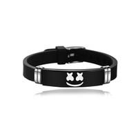 ingrosso braccialetto gioielli incisi-Marshmello DJ Bracciale Acciaio inossidabile nero Bracciali con incisione Marshmello Fan musicali Souvenir Bracciali in silicone Commercio all'ingrosso di gioielli