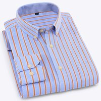 camisa de negocios de hierro al por mayor-Púrpura, naranja, rayas, negocios, hombres, camisas, manga larga, cuello abotonado, alta calidad, Oxford, sin hierro, hombres formales, camisas
