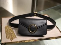 gebrauchte frau schultertaschen großhandel-Hochwertige schwarze Ledergürteltasche 2019 Modemarke Luxus Designer Taschen Frauen Kette Umhängetaschen Dual-Use-Mini-Designer Gürteltasche