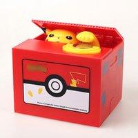 piggy banks para crianças venda por atacado-Novos Pokemons Pikachu Caixa De Dinheiro De Plástico Eletrônico Roubar Moeda Mealheiro Caixa de Dinheiro Seguro Para As Crianças Presente Mesa de Brinquedo