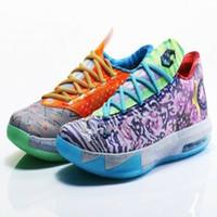 Wholesale kevin durant basketball shoes men for sale - Group buy What The KD PREMIUM KD VI DC Preheat Men Basketball Shoe With Box Best Kevin Durant VI aunt pearl Shoes