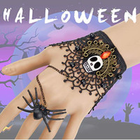 Wholesale slave hand chain for sale - Group buy 2019 Hot Halloween Bracelet Hand Chain Metal Skeleton Black Lace Horror Necklace Bracelets Vampire Slave Bracelets Women Men Jewelry M600F
