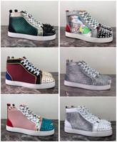 yüksek önyükleme sivri uçları toptan satış-Erkek Kadın Rahat Ayakkabılar Lüks Tasarımcı Kırmızı Alt Çivili Spike Moda Insider Sneakers Siyah Kırmızı Beyaz Deri Yü ...