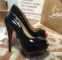 Wholesale black platform sandals dress shoes for sale - Group buy Classic Brand Red Bottom High Heels Platform Shoe Pumps Nude Black Patent Leather Peep toe Women Dress Wedding Sandals Shoes size