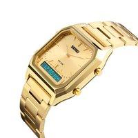часы двойные цифровые часы оптовых-Мода Повседневная Часы Мужчины Цифровой Dual Time Спорт Хронограф 3bar Водонепроницаемые Кварцевые Наручные Часы relogio masculino 1220