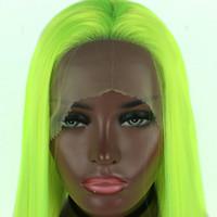 peruk kraliçesi sentetik toptan satış-Sentetik Dantel Ön Peruk Açık Yeşil Düz Cosplay Sürükle Kraliçe Parti Peruk Isıya Dayanıklı Fiber Saç