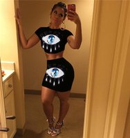 Wholesale sexy big womens dresses online - Big Eyes Sequins Sexy Womens Dress O Neck Short Sleeve Hot Skirt Sets New Arrival