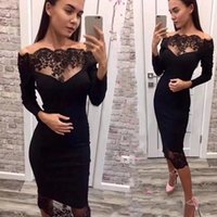 vestido de festa de chiffon floral preto venda por atacado-2019 novas mulheres bandage dress vestidos black slash neck celebridade party dress elegante fora do ombro lace bodycon club dress