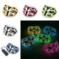 baile flash al por mayor-EVA LED Fox Mask Creative EL Light Dance Party Halloween Horror Flash Mask Masquerade Party Decoration TTA1558