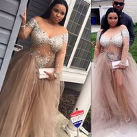 importiert plus size kleider großhandel-Afrikanischer Champagner Plus Size Prom Dresses 2019 Langarm Imported Party Dress