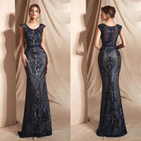 Wholesale red actual dress resale online - 2019 Actual Image Evening Dresses Wear Mermaid Cap Sleeves Bling Sequined Lace Appliques Sequins Navy Blue Evening Dress Party Formal Gowns