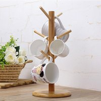 kleiderbügel großhandel-Mayitr Holz Cup-Rack Sechs Brackets Becher-Kaffeetasse Aufbockvorrichtung Büro Küche Home Organisation Aufhänger Trinkgefäße Werkzeuge Ständer