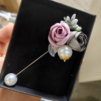 Wholesale flower brooch cloth resale online - Ladies Cloth Art Pearl Fabric Flower Brooch Pin Cardigan Shirt Shawl Pin Professional Coat Badge Jewelry Accessories