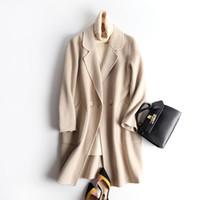 abrigos de cachemira blanco al por mayor-2019New Pattern High-end Cashmere Woman Overcoat Albaricoque Arroz Blanco de dos caras Fondo largo de lana Abrigo suelto Chaquetas de invierno para mujer Oferta