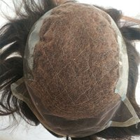 Wholesale back straight hair resale online - Q6 Human hair Men Toupee Swiss Lace Front With Pu Back Men Wig Natural Straight Hairpieces Breathable Durable Soft Comfortable