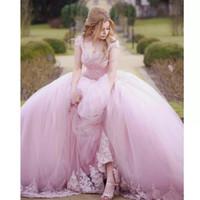 klassische ballkleid prom kleider großhandel-Rosa Ballkleid Quinceanera Kleider Kurzarm Applikationen Perlen Sweet 15 Kleid Plus Size Princess Classic Abendkleid 2019