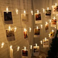 rosa geführte klipps groihandel-Weihnachten 1 Mt 10 Lampe Foto Clip LED Batterie Box LED Streifen Licht Weihnachtsschmuck für Zuhause Neujahr Dekoration Natal Navidad