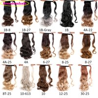 Wholesale black women ponytail extensions resale online - 17 Inch Long Ponytail Body Wave Ponytail Hair Extension g pc Synthetic Ponytail Hair with Black Blonde Brown Colors For Women